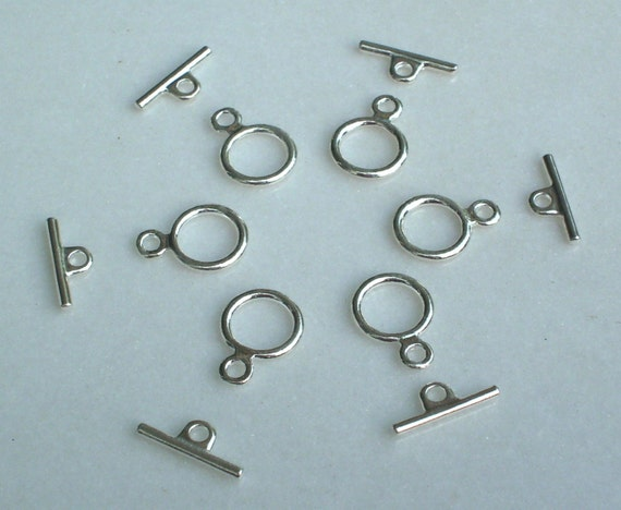 6 Brite Silver Toggles findings, clasp