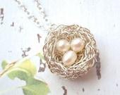 Tiny three eggs nest necklace