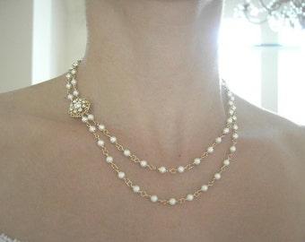 Swarovski Gold Filigree flower Necklace, Swarovski Filigree necklace in gold, Wedding gold necklace, bridesmaid gold necklace