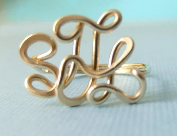 Monogram Ring, 14k gold filled, handcrafted