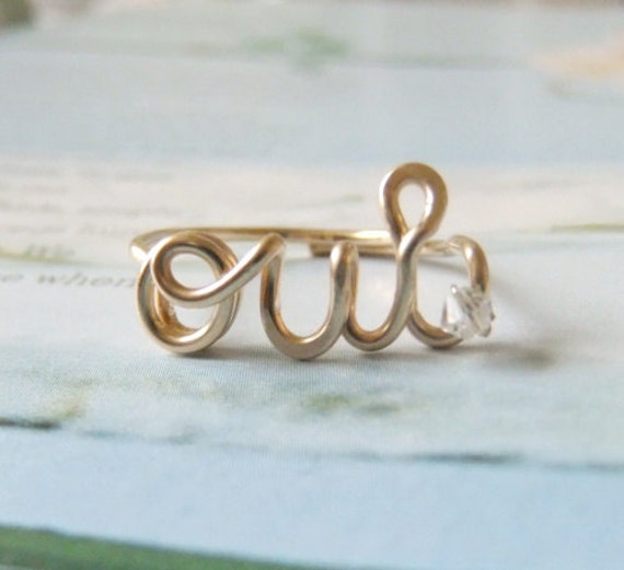 Oui ring in 14k gold filled with Swarovski crystal, Wire Jewelry, Gold Oui ring, Wire word ring, wire ring