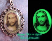 Face of Christ Green Glow in the Dark Savior Pendant