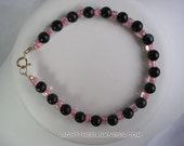 Black Glitter and Pink Glass Beaded Bracelet with Sterling Silver Clasp