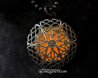 Orange Tangerine Antique Brass Mystic Glow Locket