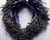 Romantic Heart Shaped Dried English Lavender Wreath