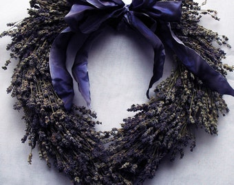 Heart Shaped Lavender Wreath with Custom Ribbon Bow