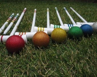 Rainbow Glittered Vintage Croquet Set Custom