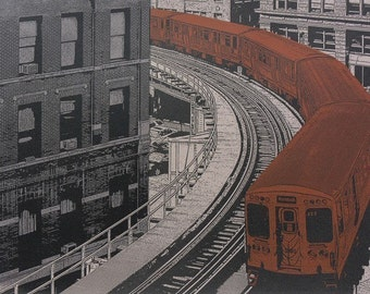 BROWN LINE--7x10print, complete with 11x14 mat board