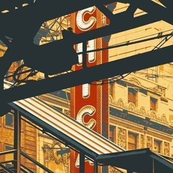 State and Lake 5x7 print with 8x10 mat board--Chicago image