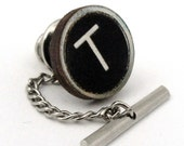Custom Wooden Typewriter Key Tie Tack Clutch and Chain