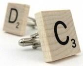 Wooden Cufflinks - Scrabble