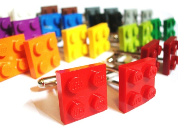 WEDDING SPECIAL 5 Pairs- Choose any Color Tile Cufflinks -FREE GIFT BAG- Retro Man Guys Dad Fun Gift 80's Dork Boy Groom Groomsmen Fathers day