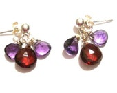 Now 23 dollars - La Petit Earrings-Amethyst-Garnet-Sterling Silver - Refund Sent After Checkout