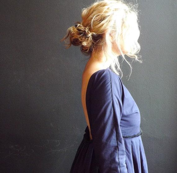 Navy Blue Cotton Poplin Backless Dress