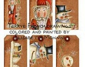 Instant Download Primitive xmas and winter color & paint tags digital printable sheet 6 tags Terrye French drawings