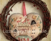 Instant Download Primitive stitchery e-pattern February Love available in English and  Italian