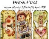 Primitive Annies color & paint tags digital printable sheet 6 tags