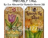 Tulip stitchery tags digital printable sheet 6 tags