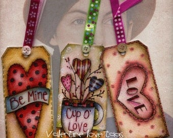Valentine Love  color & paint tags digital printable sheet 6 tags