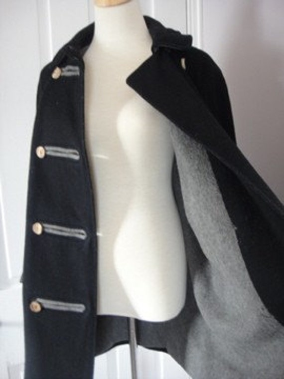 Vintage Black Wool Pea Coat, Loden, Grey Lining, Wood Buttons, Lodenfrey Munich, Large
