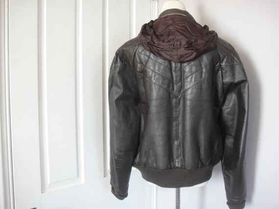 Vintage Men's Leather Bomber Jacket, Brown, Chevron, Hood, J Walden, Size 46