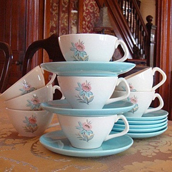 Vintage Steubenville Pottery Company Fairlane Pink and Blue Flower Pattern Teacups with Matching Blue Saucers, Set of 8