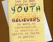 Let no man despise thy youth...  1 Timothy 4v12 - 5x7 Card w\/envelope