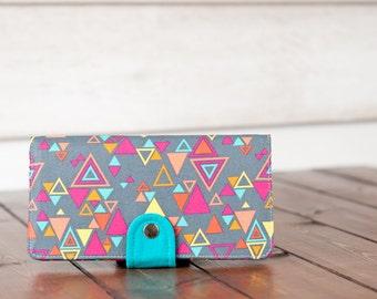 Handmade  Wallet - BiFold Wallet - Vegan Wallet / Geometric Neon in Charcoal -- PREORDER