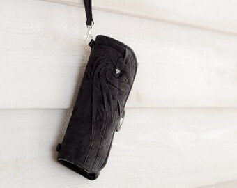 SmartPhone Purse 12x - Rosie MicroSuede Clutch with ID pocket and Wristlet Strap in Black -- Pick Your Fabric