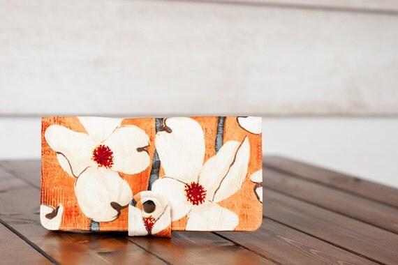 BiFold Wallet Clutch - Handmade Wallet - Vegan Wallet / Dogwood Blossom in Spice -- PREORDER