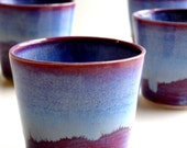 Set of 4 Purple Blue Porcelain Tumbler - Made To Order