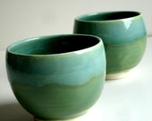 Set of Two Green Porcelain Cups