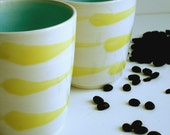 Yellow Stripes Porcelain Tumbler - Cup