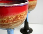 Set Of 2 Wheel Thrown Stoneware Autumn Goblets -  MADE TO ORDER