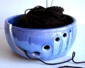 Blue Ceramic Wheel Thrown Yarn Bowl - MADE TO ORDER - NewMoonStudio