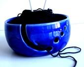 Cobalt Blue Ceramic Wheel Thrown Yarn Bowl - Made To Order