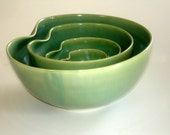 Green Porcelain Nesting Bowls For Salad Salsa soup Rice Cereal And More