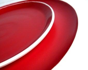 Handmade Stoneware Red Dinnerware - 2 Piece Set - MADE TO ORDER