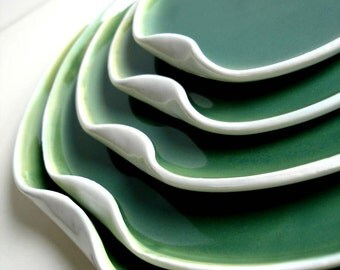 Handmade Green And White Nested Serving Plate Set - MADE TO ORDER