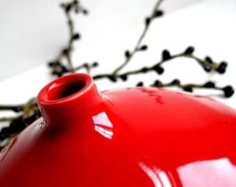 Apple Red Porcelain Ceramic Bud Vase- MADE TO ORDER
