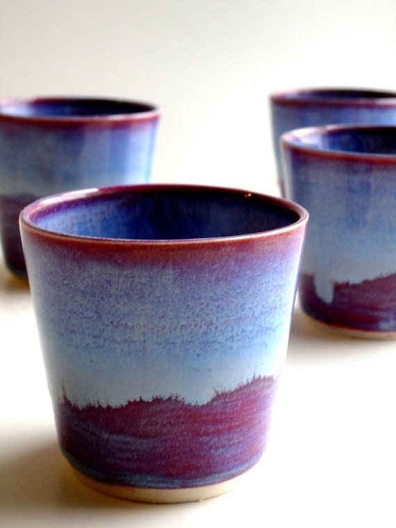 Set of 4 Purple Blue Porcelain Tumbler - Made To Order