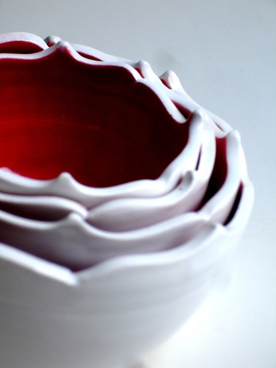 Red in White Porcelain Nesting Bowls Set - MADE TO ORDER