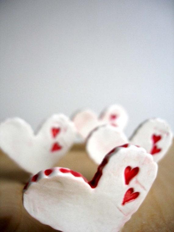 Set Of 4 Porcelain Heart Magnets