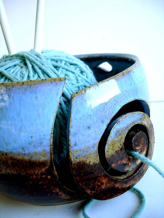 Blue Brown Wheel Thrown Yarn Bowl - MADE TO ORDER