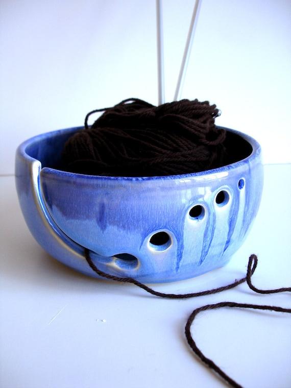 Blue Ceramic Wheel Thrown Yarn Bowl - MADE TO ORDER