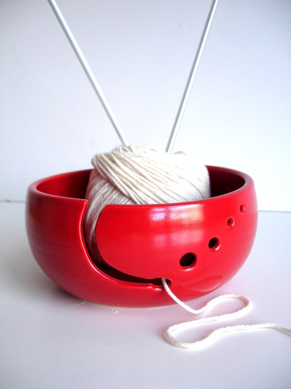 Red Simple Modern Ceramic Wheel Thrown Yarn Bowl - Made to order