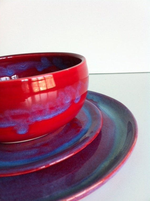REGISTRY for Lauren Finucane and Richie Gumpert - Handmade Stoneware Red Dinnerware - 3 Piece Set