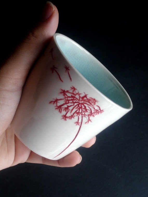White Blue Porcelain Tumbler - Dandelion