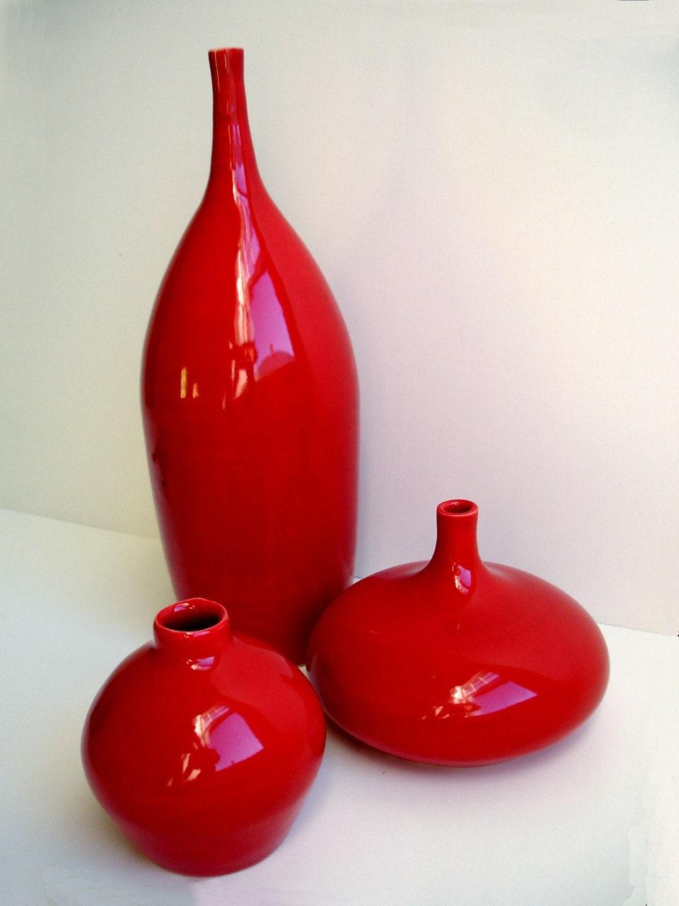 Porcelain Wheel Thrown Ceramic Apple Red Vases Set
