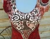 Red Batik Tree Hemp and Organic Cotton Dress